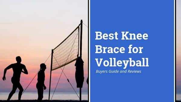 Best Knee Brace for Volleyball playing the sport on a beach wearing a knee support product