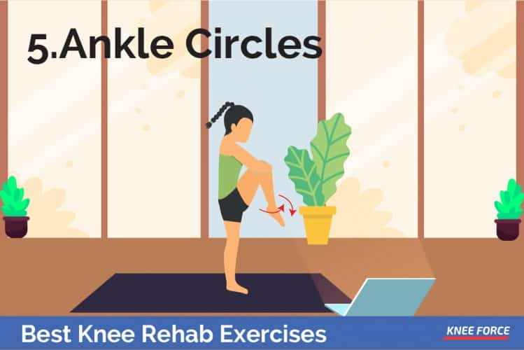 Knee rehab exercises ankle circles for knee pain, woman doing ankle circles for the knee