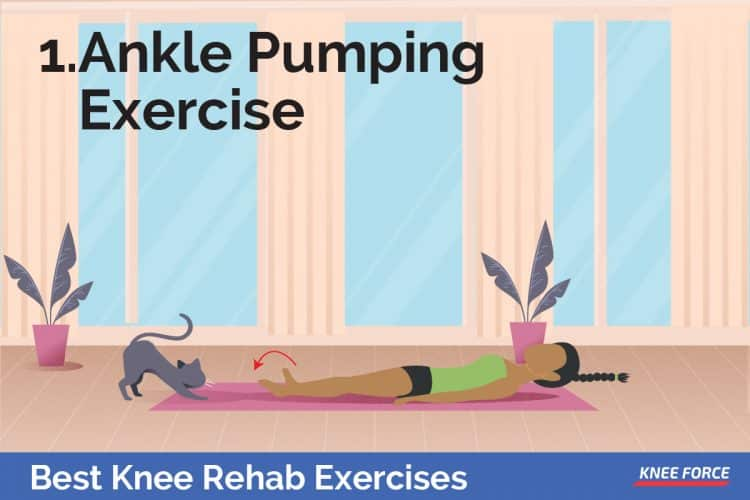 Knee Rehab Exercises, girl ankle pumping exercise lying on the floor