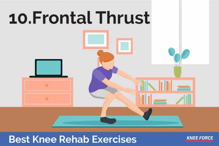 knee rehab exercises girl or woman doing frontal thrust for knee pain exercises