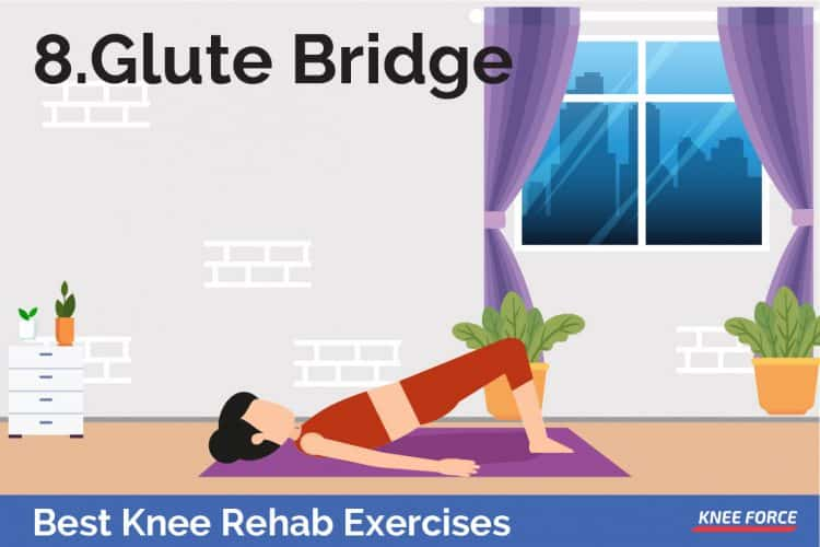 knee rehab exercises glutei bridge for knee pain, woman lying on the floor doing exercises for knee pain and knee injury