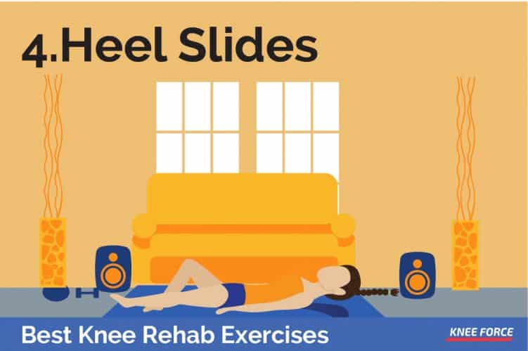 knee rehab exercises, heel slides for knee pain, woman lying on the floor exercises heel slides for knee pain