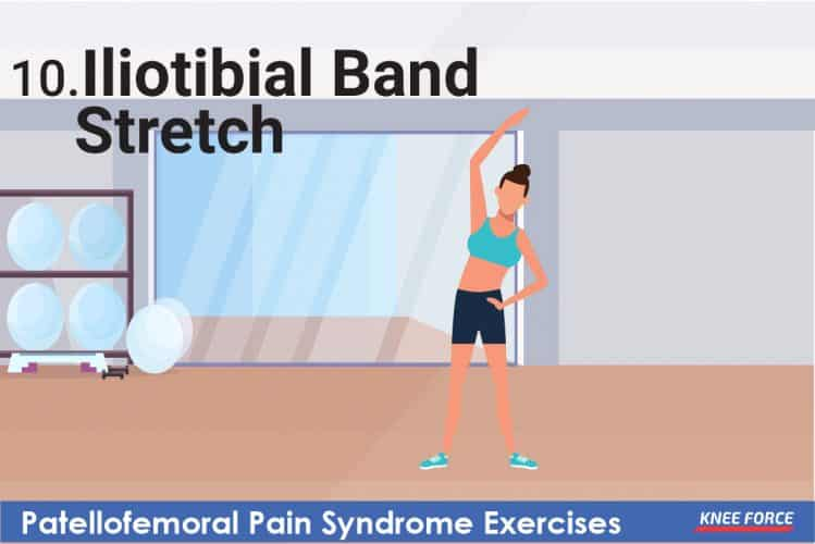 woman doing iliotibial band stretch exercise for knee pain, patellofemoral pain syndrome exercises