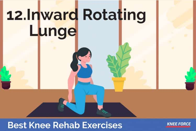 knee rehab exercises, girl or woman doing inward rotating lunge exercise for knee pain