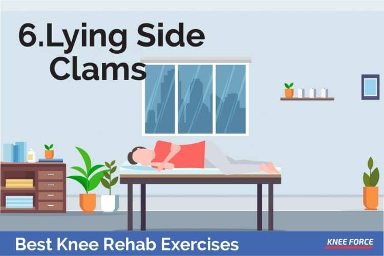Knee rehab exercise, lying slide clams for knee pain, man lying on a bed doing lying side clams for knee pain