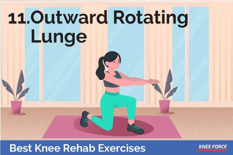 knee rehab exercises outward rotating lunge for knee pain, girl or woman doing exercise for knee pain