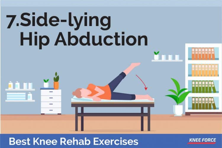 knee rehab exercises side-lying hip abduction for  knee pain and knee injury