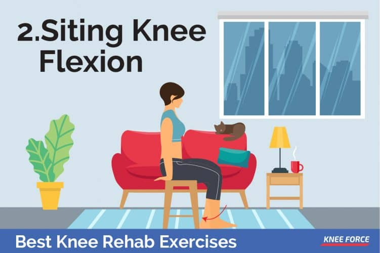 knee rehab exercises for knee pain, sitting knee flexion, girl sitting on the chair
