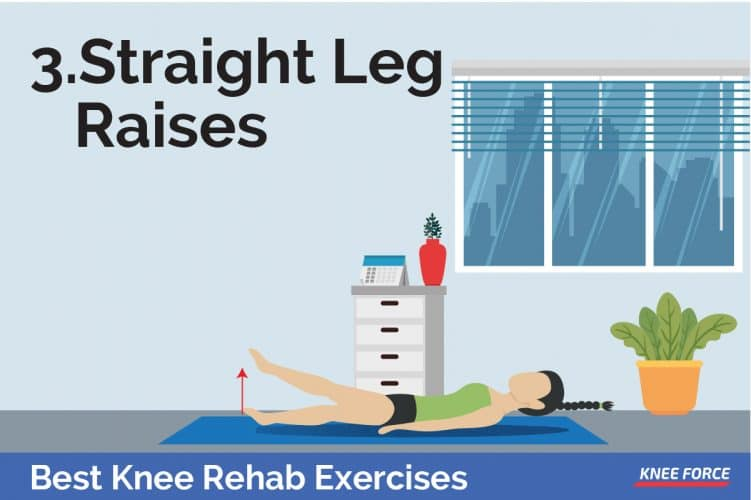 straight leg raises exercises for knee pain, knee rehab exercises, woman lying on the floor exercising for knee pain