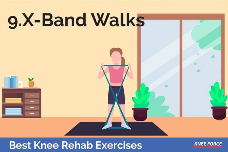 girl doing x-band walks knee rehab exercises, x-band walks for knee pain
