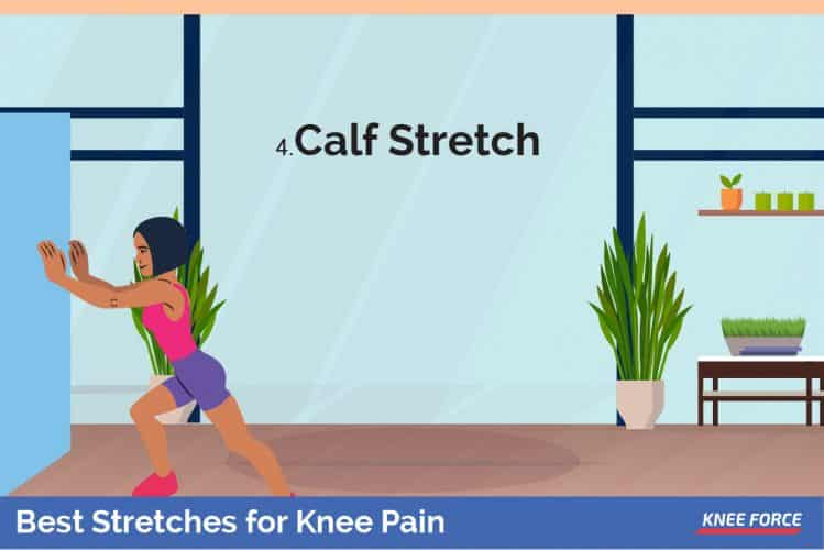 woman doing calf stretch for knee pain,Place your hands on the wall and push against it
