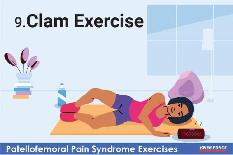 patellofemoral pain syndrome exercises, girl doing clam exercise for knee pain