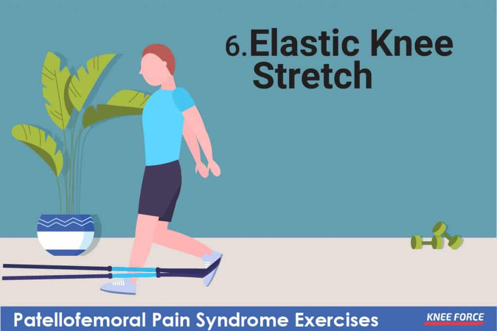 man doing elastic knee stretch exercise for knee pain, patellofemoral pain syndrome exercises