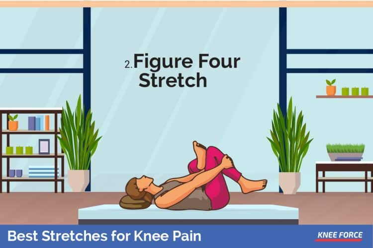 figure four stretches for knee pain, Cross your left foot over your right quad, and bend your right knee.