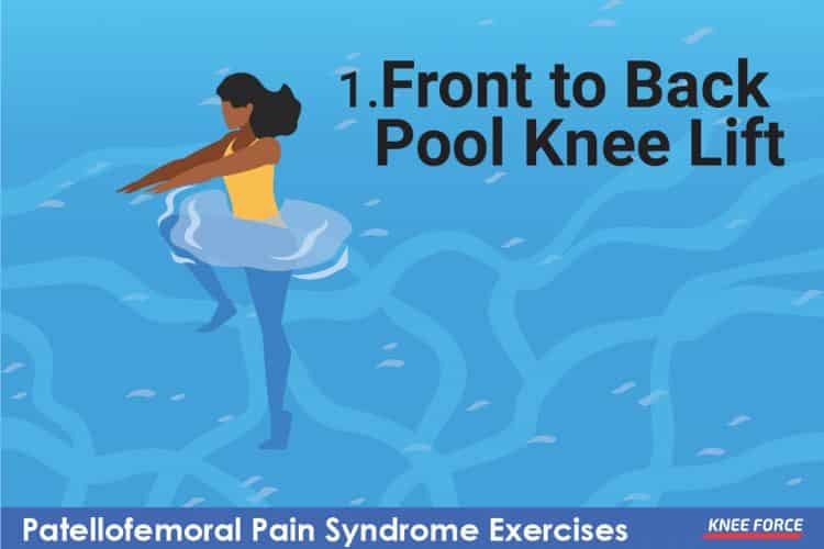 front to back pool knee lift knee pain exercise for patellofemoral pain syndrome girl or woman doing exercise on the pool