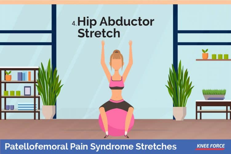 hip abductor stretch exercise for knee pain, girl In a sitting position, place the ball between your knees and squeeze them together.