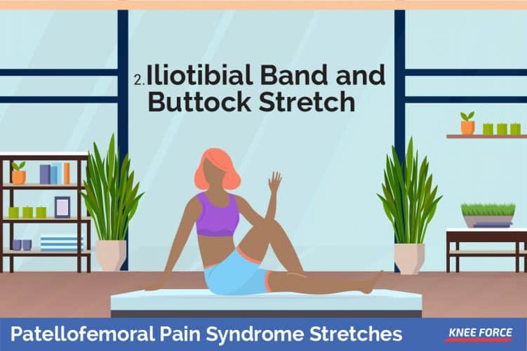 Patellofemoral Pain Syndrome Stretches, Woman or girl Sit on the floor with your right leg outstretched and left bent at the knee, with your left foot on the opposite side of your right knee, iliotibial band and buttocks stretch exercises for knee pain