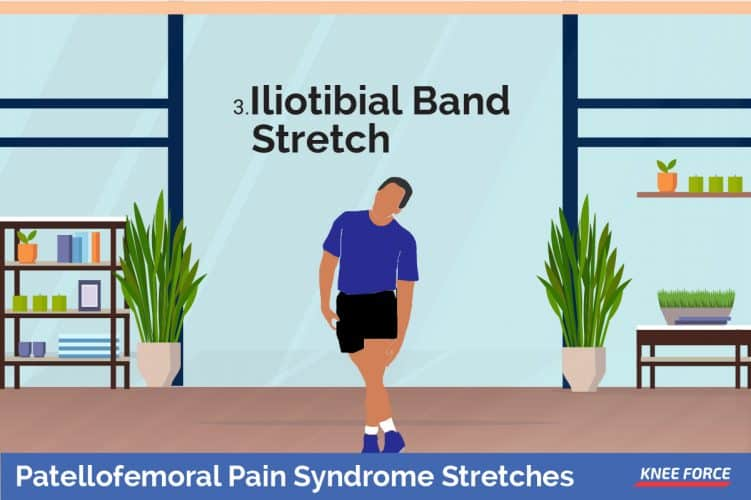 A man should stand with your upper body bent over at the hips and right leg crossed in front of the left, iliotibial band stretch exercise for knee pain