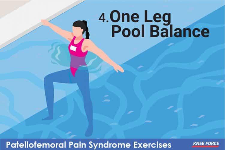 one leg pool balance for patellofemoral pain syndrome, woman doing one leg pool balance exercise for knee pain