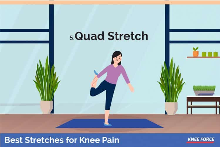 quad stretch for knee pain, woman Lie on one side.  Keep the bottom leg straight and bend the top knee so your foot is by your butt.