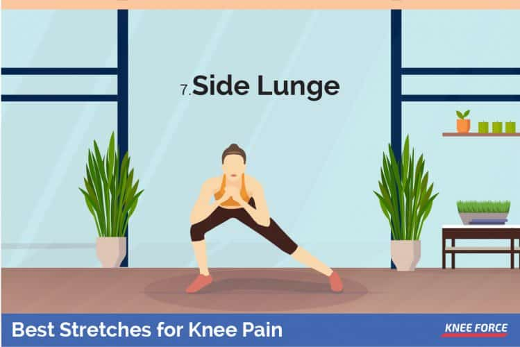 woman doing side lunge for knee pain, Lunge out to one side, bending the knee and keeping the opposite leg straight