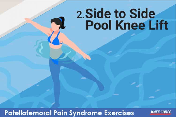 side to side pool knee lift knee exercise for knee pain, woman doing pool knee exercises for patellofemoral pain syndrome