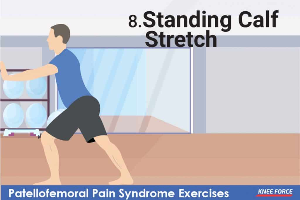 patellofemoral pain syndrome exercises, standing calf stretch exercises for knee pain, man exercising for knee pain