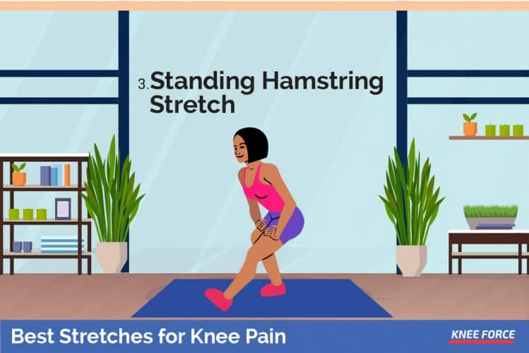 standing hamstring stretches for knee pain, Stand on your right foot with your left foot in front of you, heel on the floor, toes up, woman doing stretches for knee pain