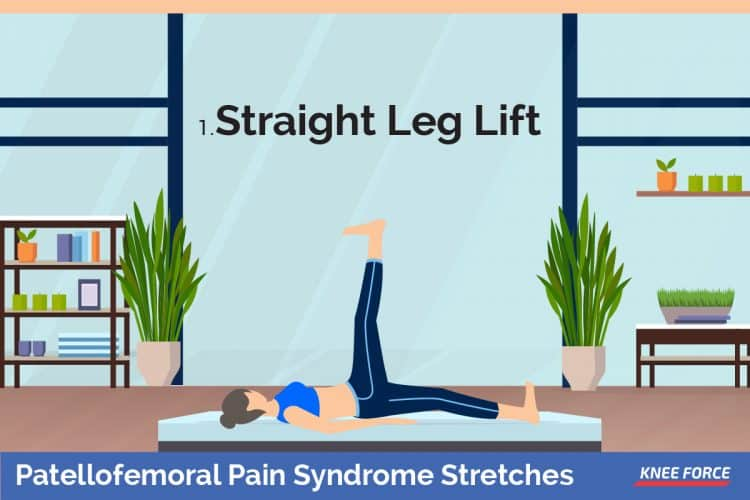 patellofemoral pain syndrome stretches for knee pain, straight leg lift, Lay on the floor, with your upper body positioned upright, resting on your elbows bent at a right angle