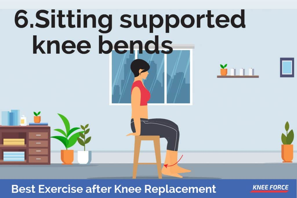 With your thigh supported, put your foot behind the heel of your recovering joint for support. woman sitting supported knee bends exercise in a chair