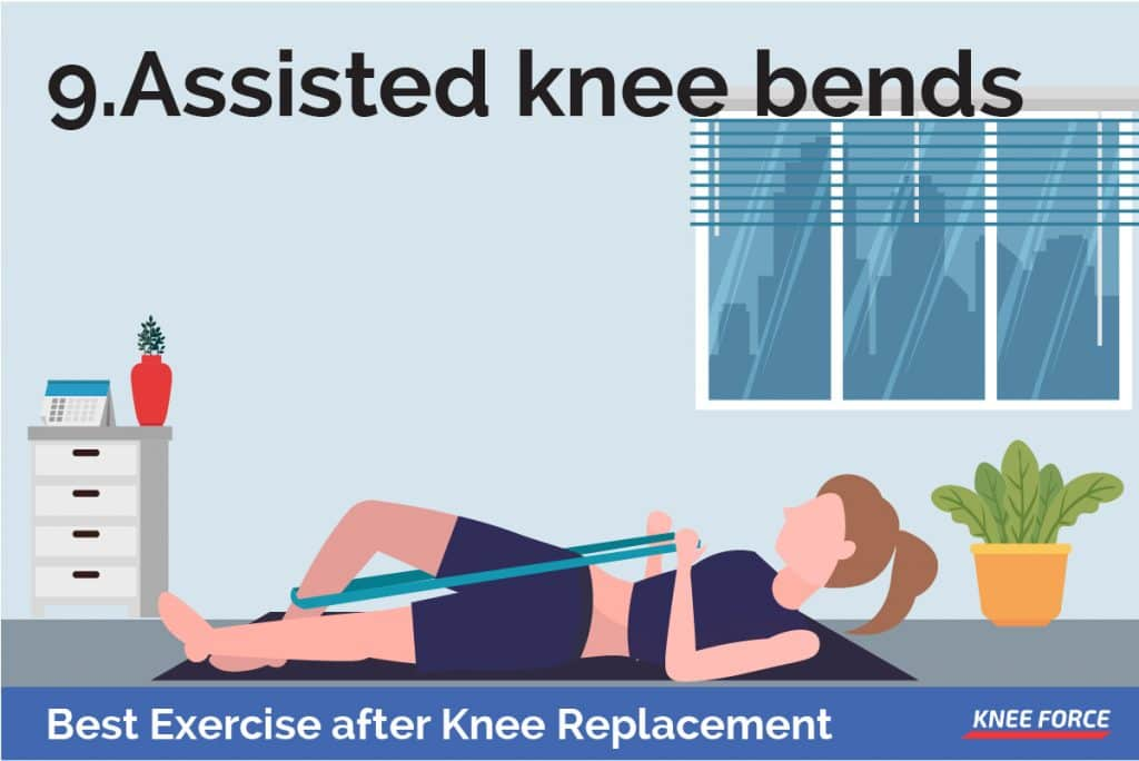 Bend your knee and use the towel to pull the knee toward you gently and increase the bend, woman doing assisted knee bends exercise