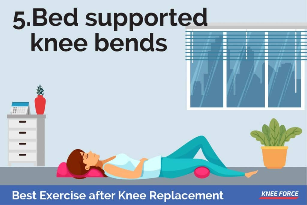slide your foot toward your buttocks and bend the knee so that your heel stays on the bed, woman doing bed supported knee bends exercise for knee pain
