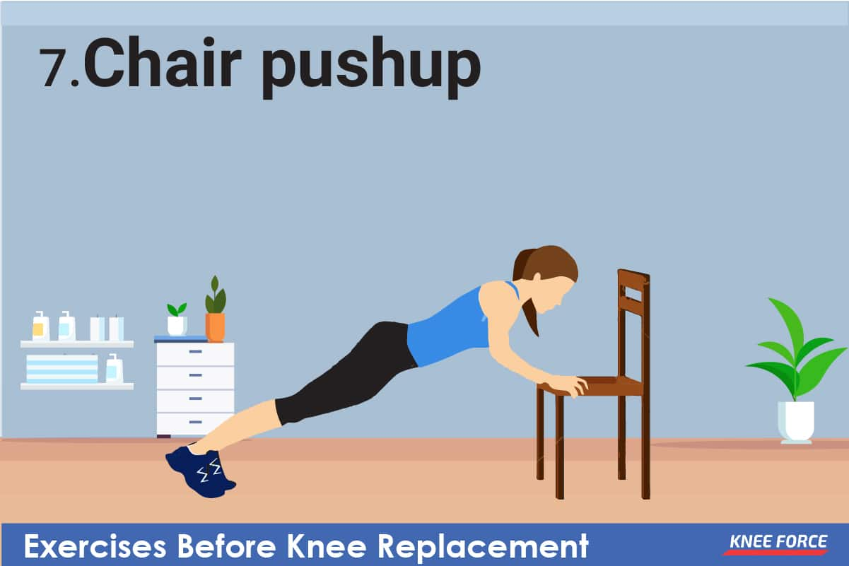 Allow your arms to grasp the arms of the chair and push down, effectively raising your body by straightening your arms and elbows