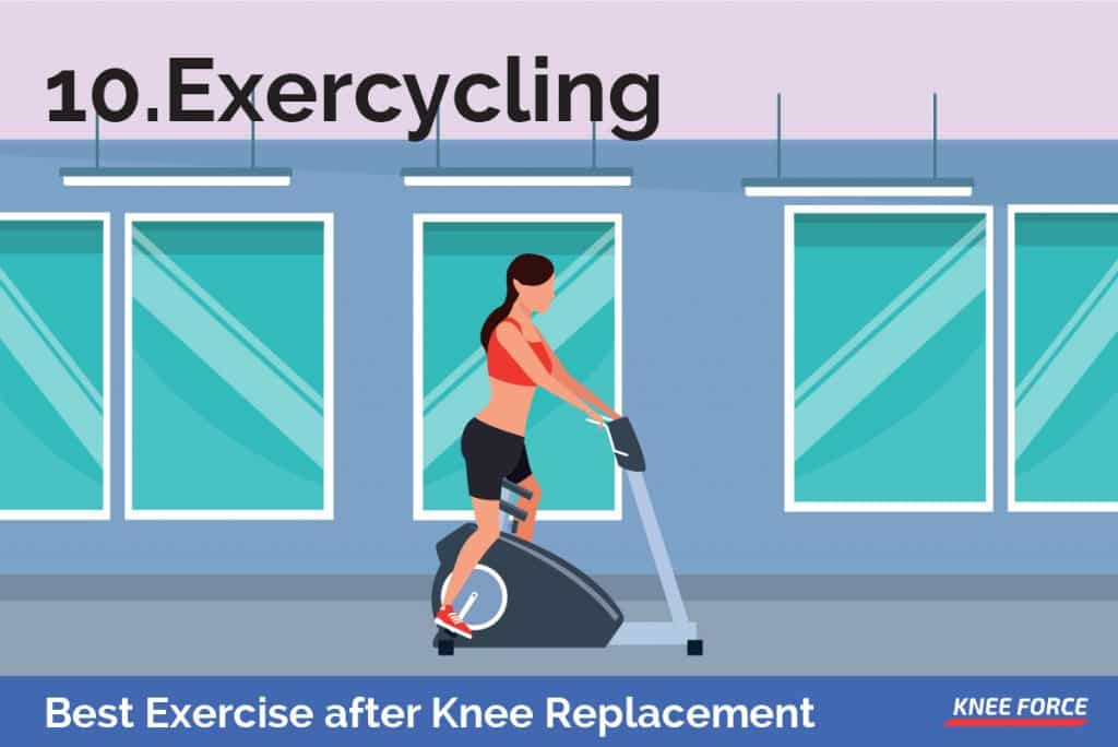 Begin by peddling backward until you find that comfortable cycling motion, woman doing stereo bike exercise, exercycling after knee replacement
