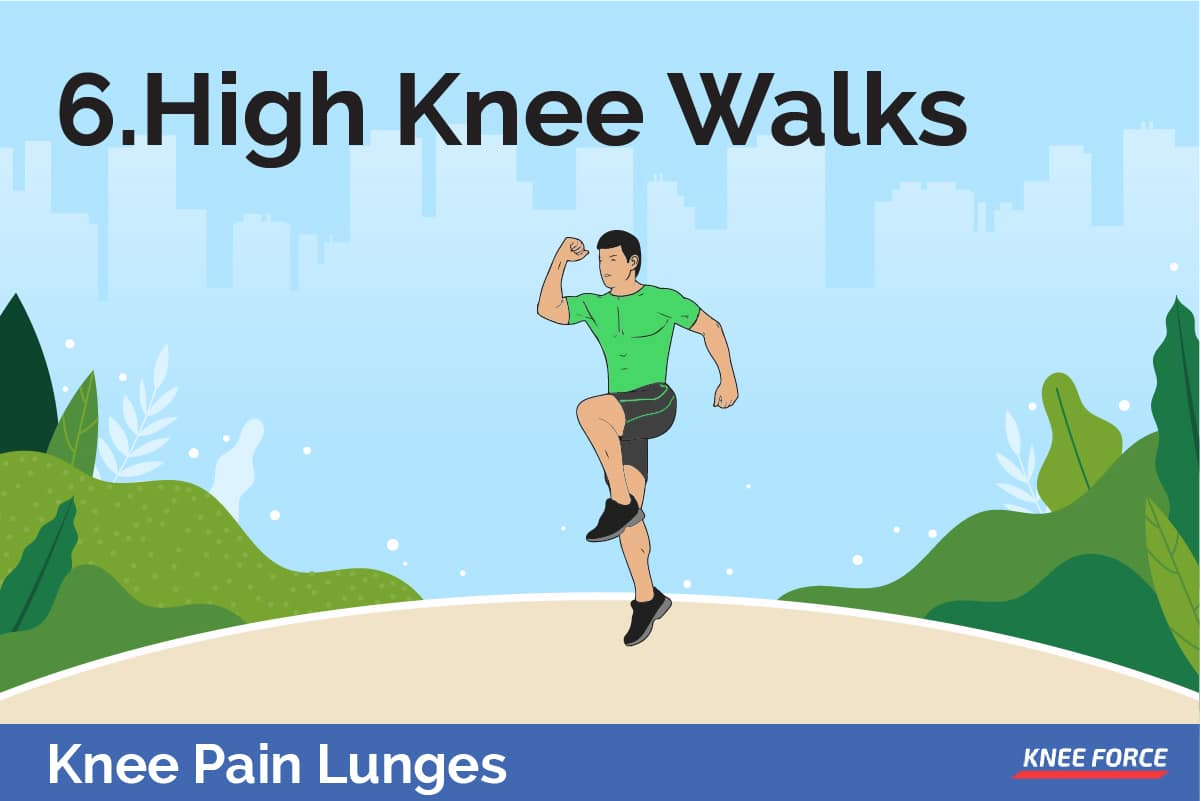 o do high knee walks bring your knee up to a 90-degree angle and then bring your foot back down to the ground in a walking motion. Do not go too fast or hold for too long.