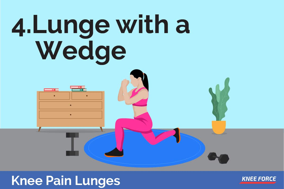 Placing a small wedge or folded towel on the floor to cushion the inside of your forefoot on the landing when you are doing lunges.