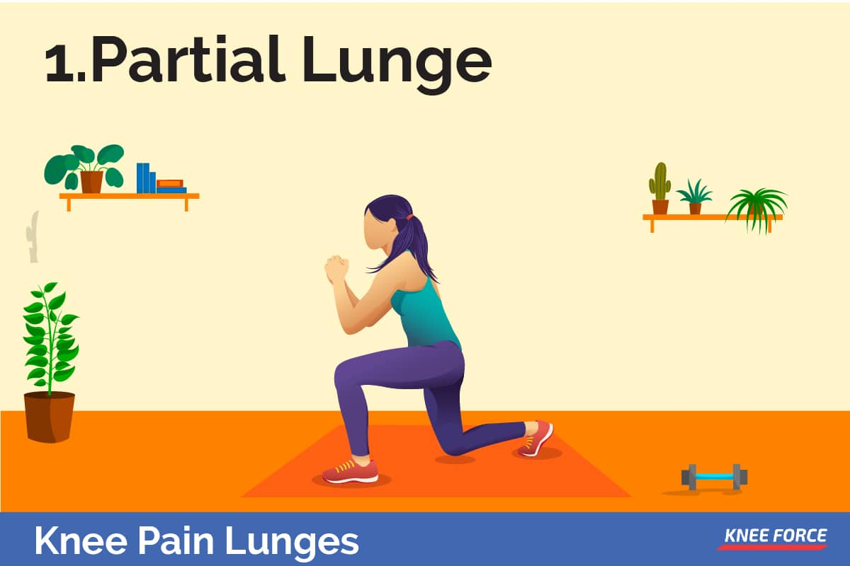 If you are in recovery you may want to first try the partial lunge. This is when you only go one-fourth of the way down as opposed to the regular lunge.