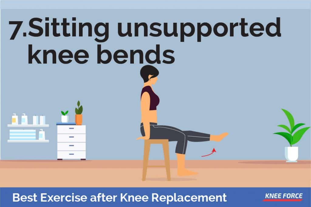 your foot lightly resting on the floor, slide your upper body forward in the chair to increase the bend in your injured knee, woman sitting unsupported knee bends
