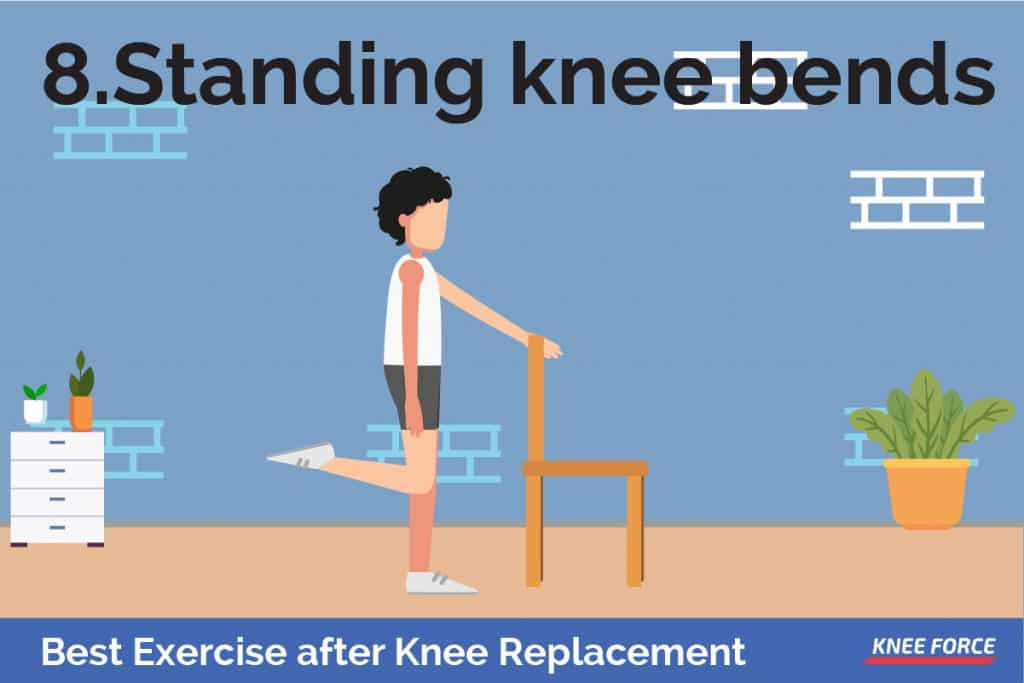 lift your thigh and bend your injured knee as far as possible, advance knee recovery exercise, man standing knee bends exercise after knee replacement