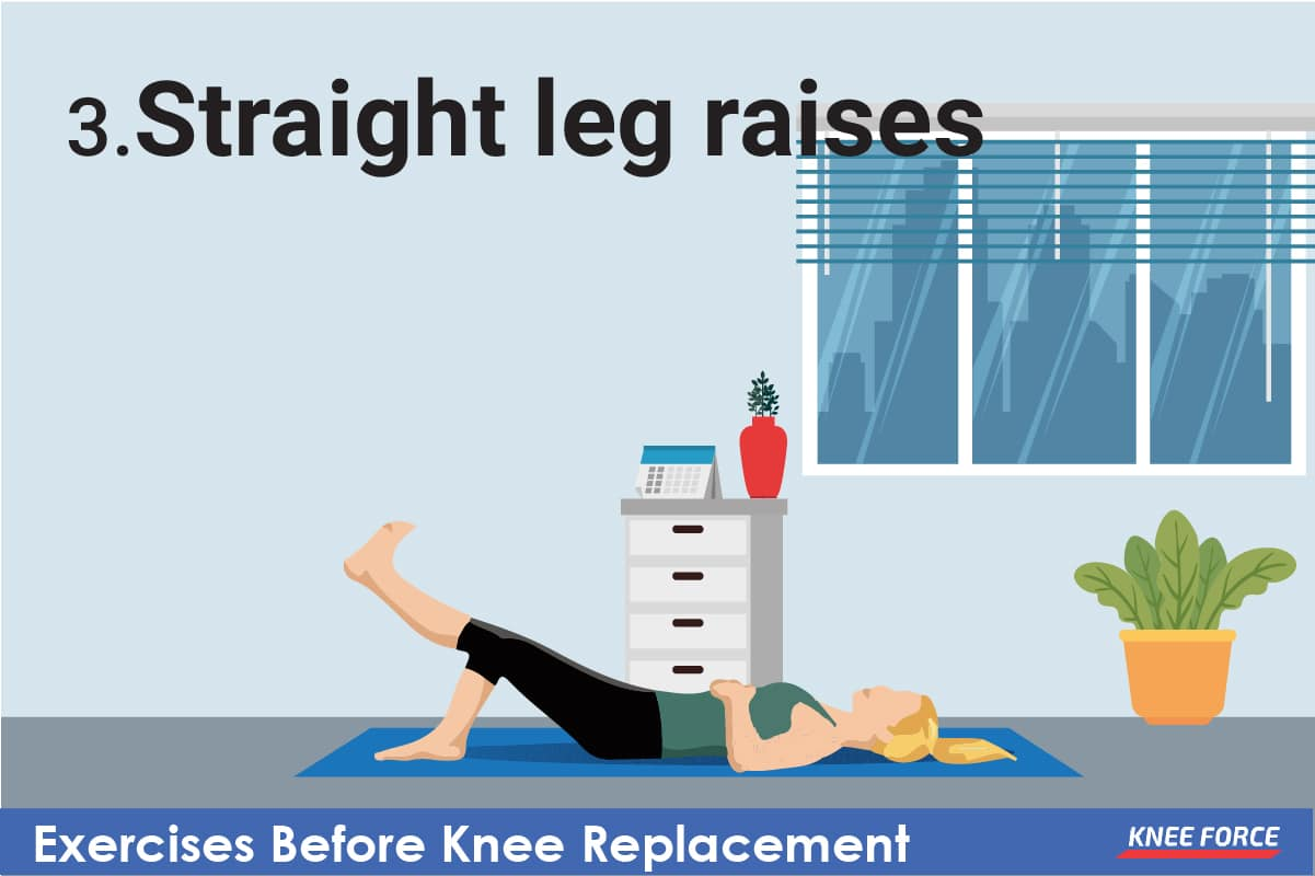 Tighten your uninjured thigh and lift the opposite leg to the height of the bent knee while keeping it straight.
