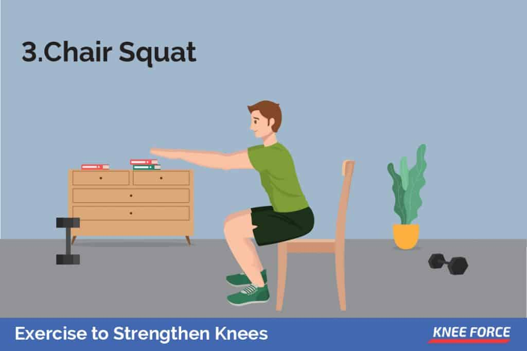 To perform the chair squat, stand with your feet shoulder-width apart in front of a sturdy chair.