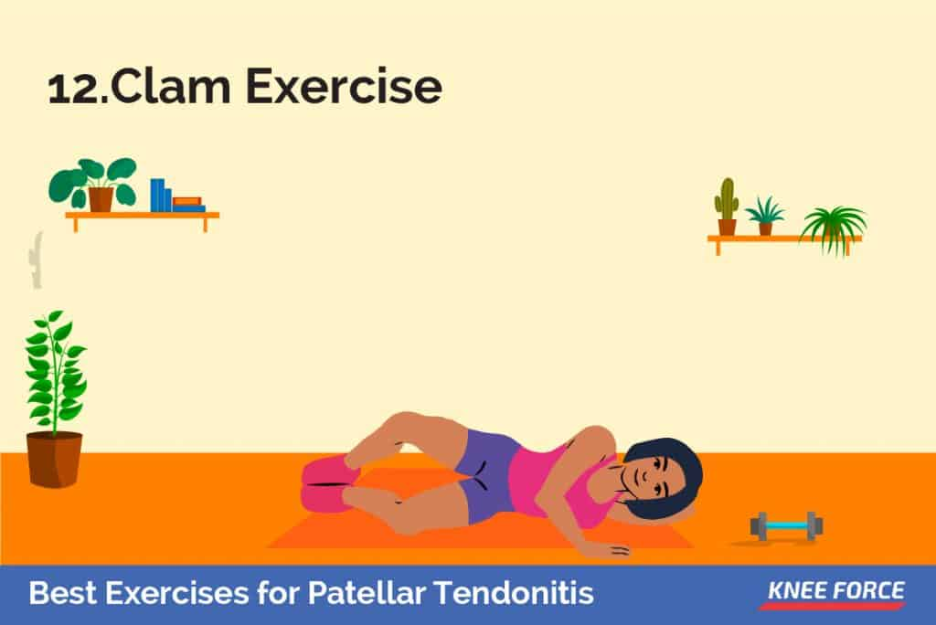 Lie on your uninjured side with your hips and knees bent and feet together. woman or girl doing clam exercise for patellar tendonitis