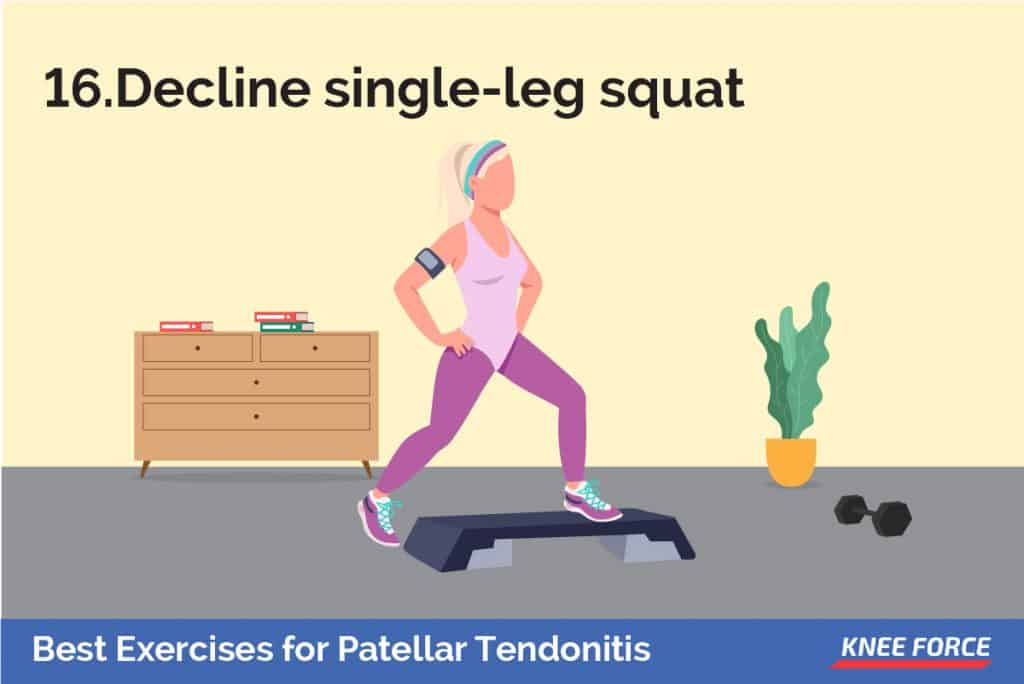 Stand with both feet on an angled platform or with your heels on a board about 3 inches high. Put all of your weight on your injured leg and squat down to a 45-degree angle. girl doing an exercise decline single leg squat for patellar tendonitis