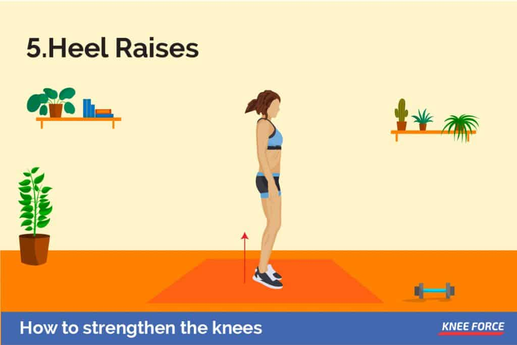 Heel raises also strengthen the glutes, but in a different way to clams and other glute exercises