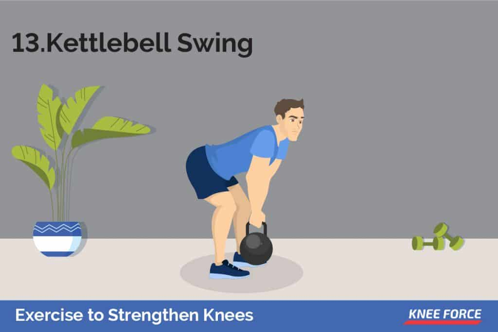 Stand with your feet shoulder-width apart, gripping the kettlebell handle with both hands. Bend your knees so that you are in a half squat, then lean forward at the hips so that the kettlebell is between your legs.