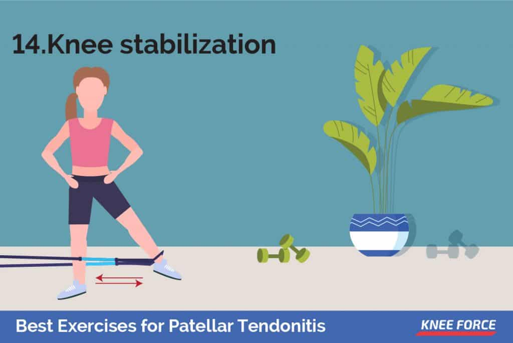 Wrap a piece of elastic tubing around the ankle of your uninjured leg. Tie a knot in the other end of the tubing and close it in a door at about ankle height. girl or woman doing the knee stabilization exercise for patellar tendonitis