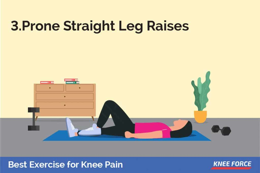 lay on your stomach with your legs straight. Tighten the muscles in your buttocks and the hamstring in your right leg, lift toward the ceiling.
