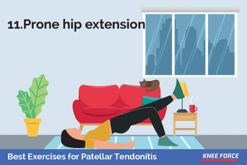 Lie on your stomach with your legs straight out behind you. Fold your arms under your head and rest your head on your arms. Draw your belly button in towards your spine and tighten your abdominal muscles. girl lying on the floor doing prone hip extension