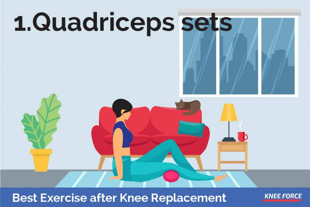 For the quadriceps sets, you must start by tightening your thigh muscle.