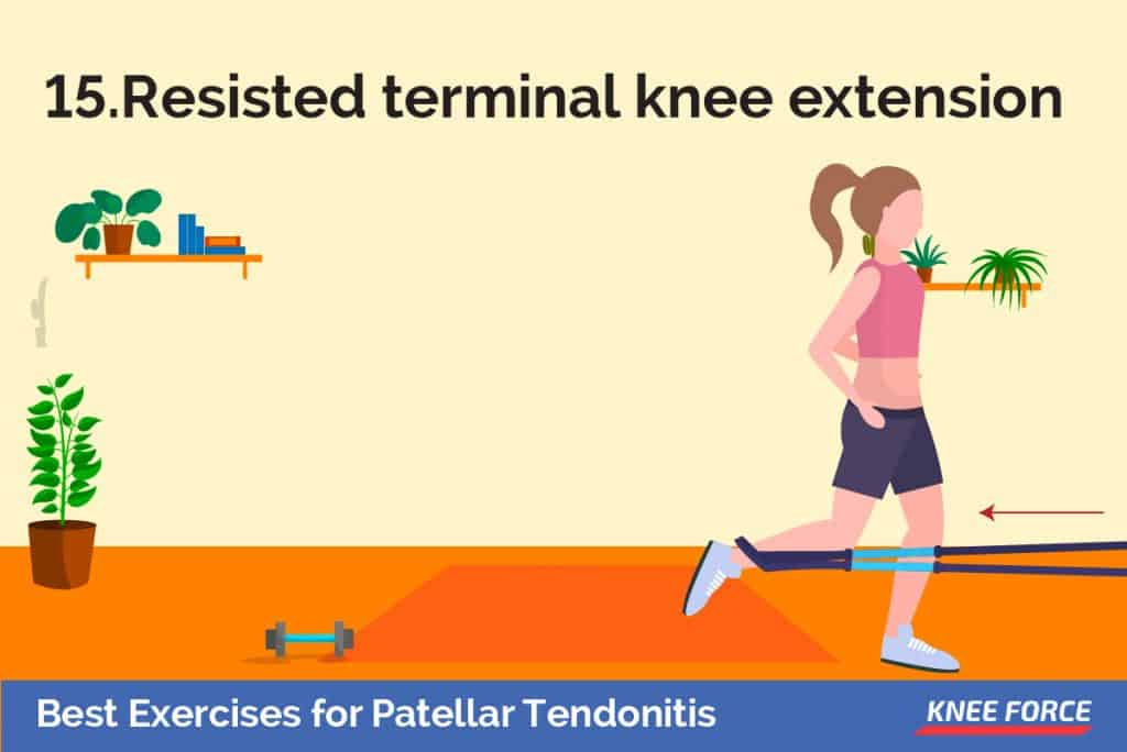 Make a loop with a piece of elastic tubing by tying a knot on both ends. Close the knot in a door at knee height., girl doing resisted terminal knee extension exercise for patellar tendonitis